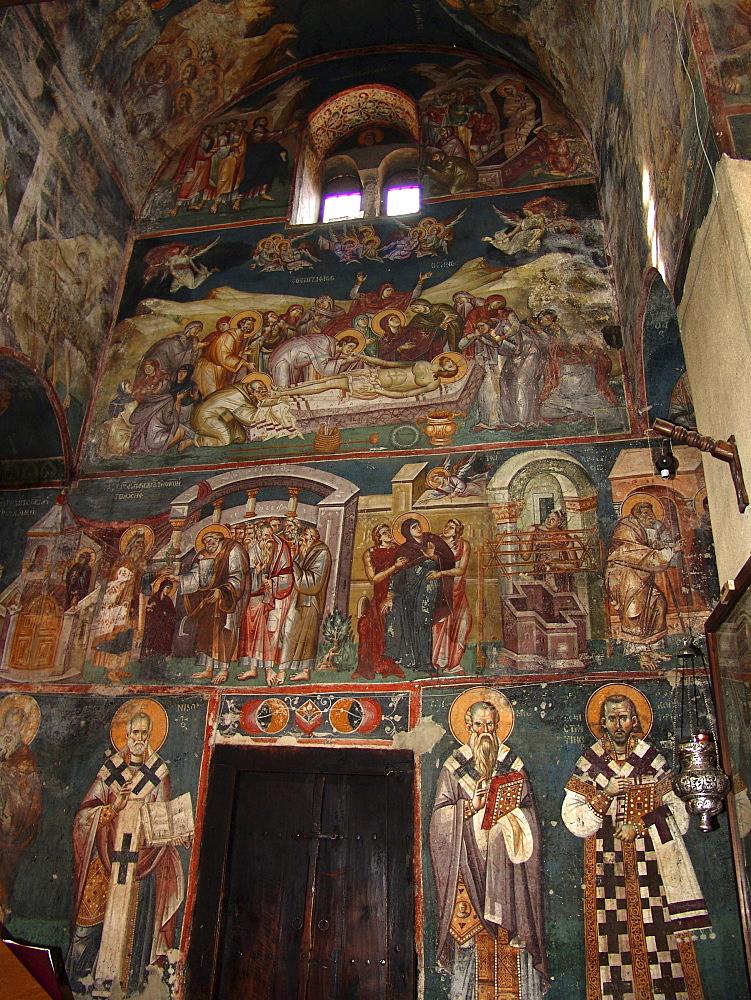 Macedonia (the former yugoslav republic of macedonia, fyrm) 13th century frescoes inside the orthodox church of saint clement, ohrid